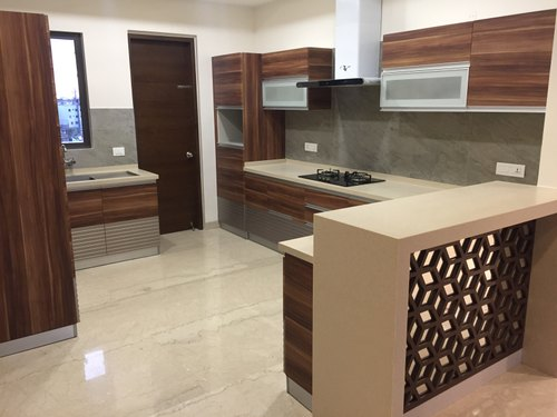 Modern Modular Kitchen With Breakfast Counter Work Provided Wood Work Furniture Id 7117914673