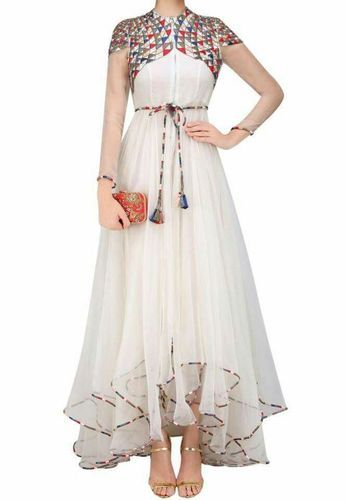 Medium White Designer Indo Western Gown Outfit Rs 1750 Pack Id