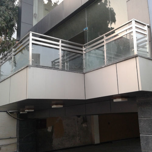 Silver Stainless Steel Glass Balcony Railing, Rs 2300 ...