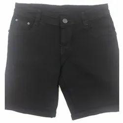 Button Denim Black Shorts, Waist Size: 28 - 40