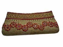 Cream Embroidered Hand Bag, Size/Dimension: Medium