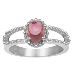 Braided 925 Sterling Silver 1.00 Ctw Pink Tourmaline Stackable Women Ring