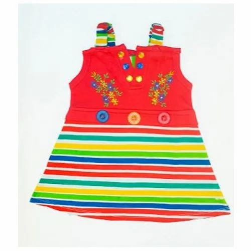 497fde731588 Girls Sleeveless Red Cotton Striped Cotton Frock