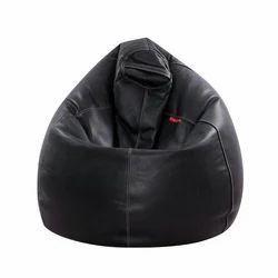 Couchette Black Leather Bean Bag