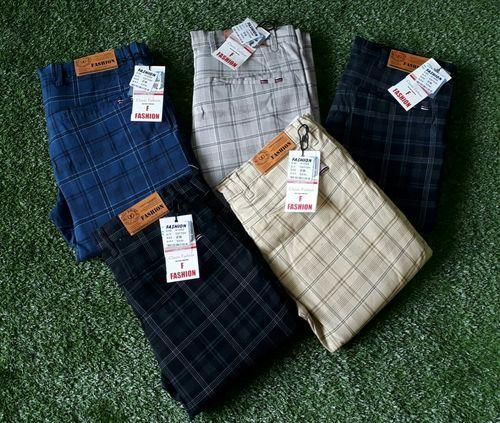 32dd2fa8724 Mens Slim Fit Party Wear Check Trousers