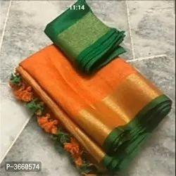 Formal Wear Plain Bhagalpuri Woven Design Cotton Slub Sarees with Blouse, Length: 5.5 m (separate blouse piece)