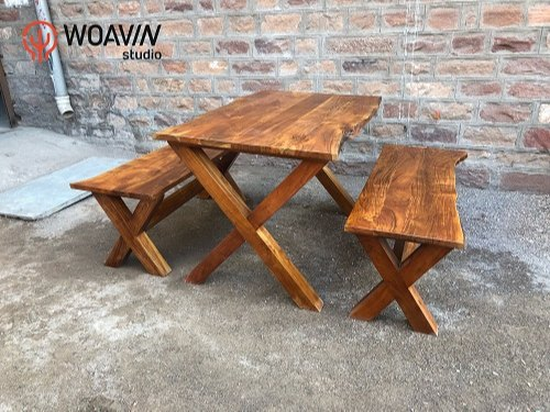Marvelous Woavin Live Edge Cross Leg Dining Table And Bench Set Of 3 Squirreltailoven Fun Painted Chair Ideas Images Squirreltailovenorg