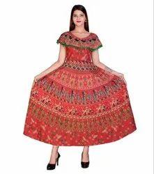 Jaipuri Printed Pom Pom Attached Frock