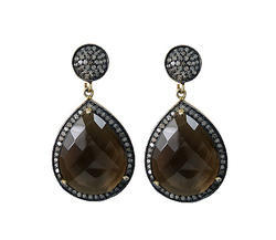 Smoky Quartz Diamond Pave Set Earrings
