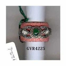 Designer Emerald Stone Polki Diamond Bakelite Ring