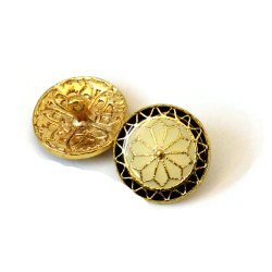 Golden And Black Brass Meenakari Buttons, For Shirt, Packaging Type: Box