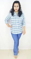 Maambe Poly Cotton Strong Fabric Ladies Casual Check Shirts
