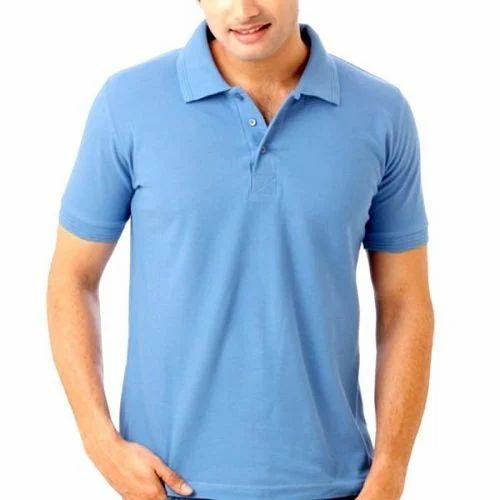 Hosiery Plain Half Sleeve Mens Collar T Shirt, Size: M-XL