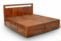 The DNA Group Brown Wooden Bed With Storage Box
