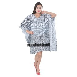 Indian Black Ombre Kaftan Mandala Women Dress Caftan