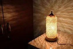 WILLART Beautiful Classic Handemade Bamboo Eco Friendly Table Lamp (Beige) (Brown- Close Design)