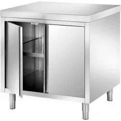 S.S Metal Work Table with Storage Cabinet.