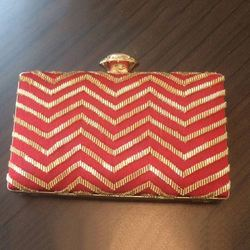 Peach, Golden Printed Handwork Evening Clutch Box Bags