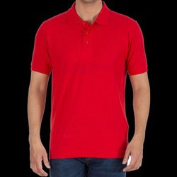 Cotton Polo Neck Red Plain Collar T Shirt