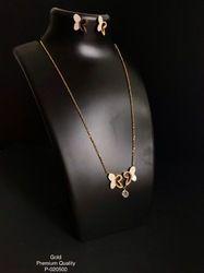 Golden Finish Round Shape Classy Korean Necklace