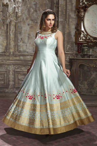 2584e3fb744c Bridal Gown - Multi Colour Heavy Jequard Tafetta Silk Gown Manufacturer  from Surat