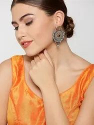 Antique Dual-Toned Peacock Inspired With Floral Pattern Drop Earrings