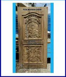 Teak Wooden Door - Ganesha Model