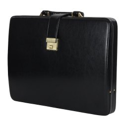 Black Plain Hard Craft Briefcase Leather Attache