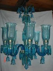 Candle-Style Fluorescent Bulb Crystal Glass Chandelier