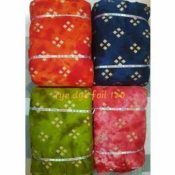 Rayon Tie Dye Gold Foil Print Fabric