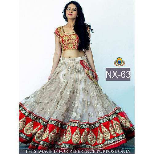 White Colored Net Embroidered Lehenga Choli At Rs 1800 Piece