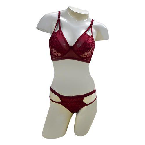 6837daefd8 Cotton Maroon Bra Panty Set