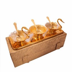 Royal Wedding Gifts Gold Plated Swan Shape Bowl Set