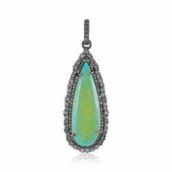 Natural Pave Diamond Ethiopian Opal Pear Shape Pendant Jewelry