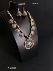 Navratri Silver Oxidized Necklace