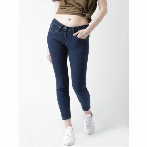 Stretchable Denim Ladies Slim Fit Jeans, Waist Size: 30