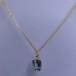 14k Solid Gold Jewelry Natural Sky Blue Topaz Gemstone Chain Pendant