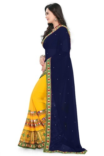 fb5400203359e Georgette Embroidered Designer Navy Blue   Yellow Color Saree with Blouse  Piece