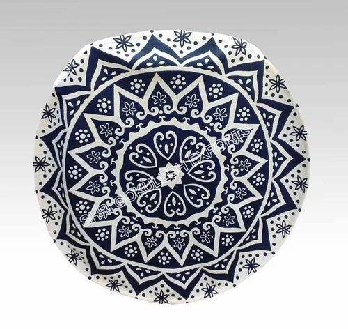 SGE Printed round cotton rug