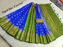 Party Wear Monga Silk Pattli Pallu Saree