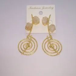 Brass And Copper Alloy Party Wear Ladies Designer Earrings