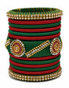 Maroon and Green Silk Thread Bangle