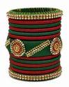Maroon and Green Silk Thread Bangle