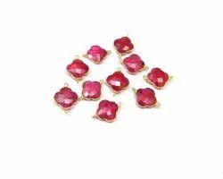 Dyed Ruby Gemstone Connector