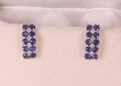 Sapphire and Diamond Silver Stud Bali Earrings