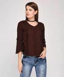 Brown Raaika Party Wear Front Gathered Top
