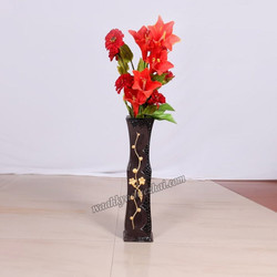 Dark Brown Vase With Golden Flower Design