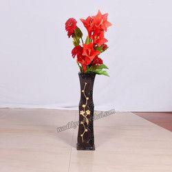 Dark Brown Vase With Golden Flower Design