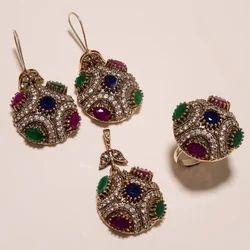 Golden Turkish Designer Ring Pendant Set