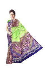 Multi Color Kasab Work Design Gaji Silk Bandhani Saree
